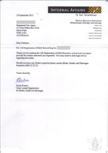 Letter from Registrar General Oct 2013